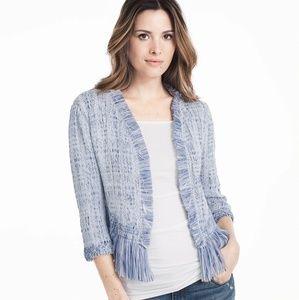 WHBM Blue Fringe Sweater Jacket